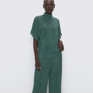 Zara Emerald Green Pleated Top and Pants
